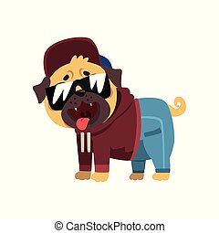 Funny pug dog character dressed as hiphop dancer vector...