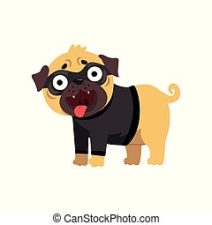 Funny pug dog character dressed as robber, funny dog in black mask vector Illustration on a white background