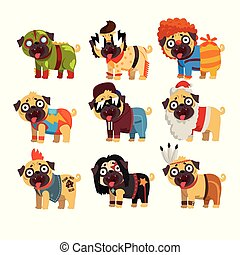 Funny pug dog character in colorful funny costumes set, vector Illustrations