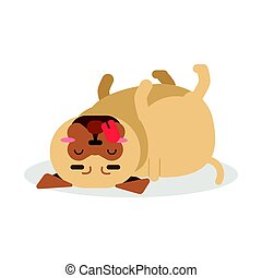 Funny pug dog character lying on its back vector Illustration