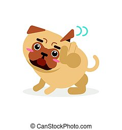 Funny pug dog character scratching an itch vector Illustration