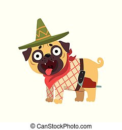 Funny pug dog character wearing Mexican sombrero hat and red...