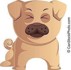 Funny pug, illustration, vector on white background.