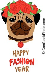 Funny Pug with rose flower wreath. Fashion vector illustration concept. Animal symbol of 2018 year.