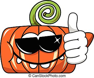 Funny pumpkin character isolated sunglasses thumb up