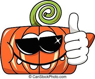 Funny pumpkin character isolated sunglasses thumb up