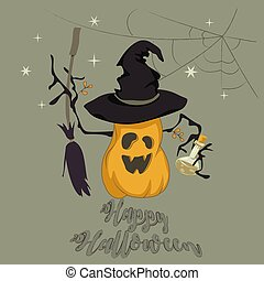 Funny pumpkin Halloween card