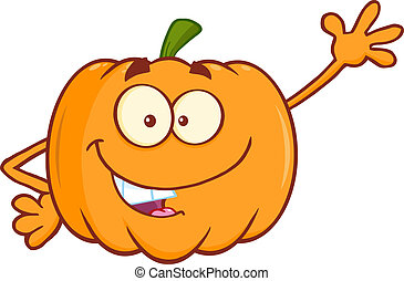 Funny Pumpkin Waving For Greeting - Funny Pumpkin Cartoon...