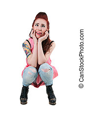 Funny punk girl - Pretty young rock woman model with cute...