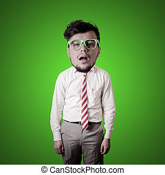funny puppet business man frustrated on green background