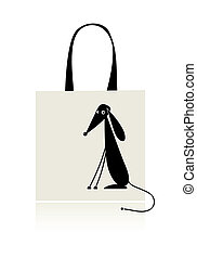 Funny puppy, design of shopping bag