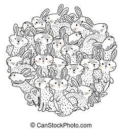 Funny rabbits circle shape pattern for coloring book