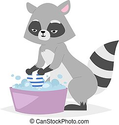 Funny raccoon vector illustration.