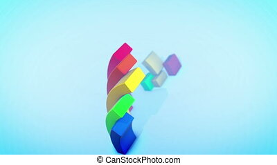 """Funny Rainbow Animation in Blue Backdrop"""