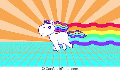 Funny rainbow unicorn running loop. Bright and colorful pony...