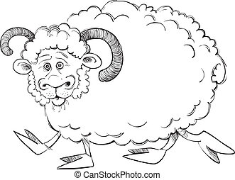 Funny ram for coloring book