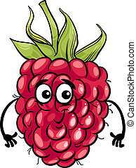 funny raspberry fruit cartoon illustration