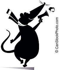 Funny rat or mouse makes announcement to megaphone ...