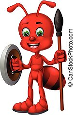 Funny Red Ant With Shield And Spear Cartoon