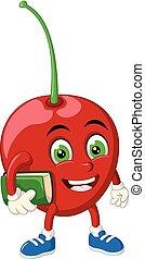 Funny Red Cherry Cartoon