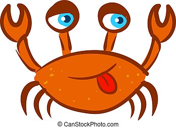 Funny red crab, illustration, vector on white background.