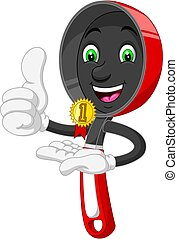 Funny Red Frying Pan With Gold Medal Cartoon
