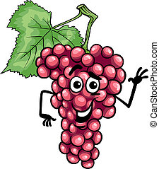 funny red grapes fruit cartoon illustration