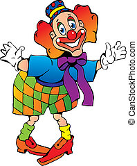 Funny red-haired clown. - Funny red-haired clown on a white...