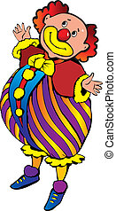 Funny red-haired clown. - Funny red-haired clown on a white...