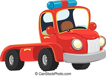 Funny red old-styled truck - Funny red old-styled toy tow...