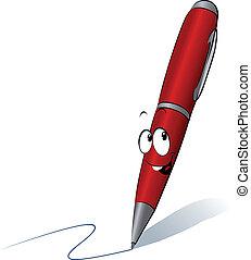funny red pen cartoon writing