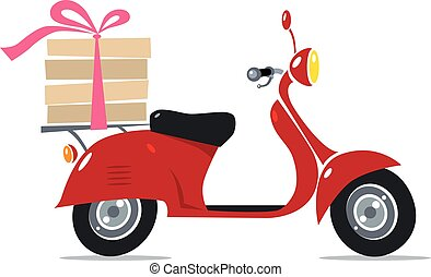 Funny red scooter with pizza. Pizza Delivery