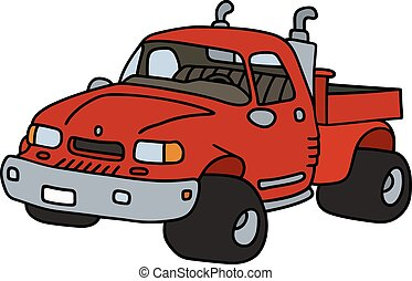 Funny red small truck