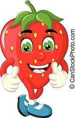 Funny Red Strawberry Cartoon