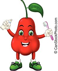 Funny Red Waterapple Cartoon