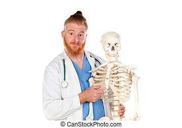 Funny redhead doctor with a skeleton