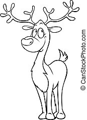 funny reindeer - black outline illustration on white - coloring book