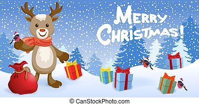 "Funny reindeer deer with bird bullfinch in Sants hat on background of Christmas snowfall in forest and inscription ""Merry Christmas"""