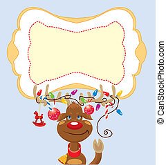 Funny reindeer with christmas lights tangled in antlers with frame for text