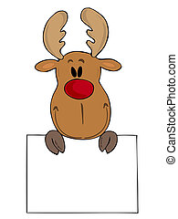 Funny reindeer with white sign.