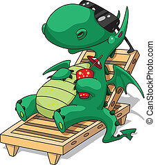 funny relaxation dragon - illustration of a funny relaxation...
