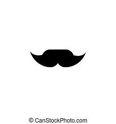 Funny retro fake mustache black icon. Mens moustache...