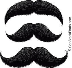Funny retro hair mustaches vector set