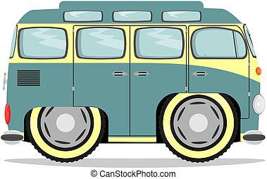 Funny retro van - Cute cartoon minivan. Vector without...