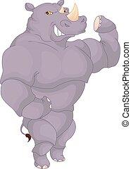 funny rhino posing cartoon