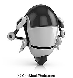 funny robot 3d illustration isolated on the white background