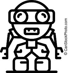 Funny robot icon, outline style