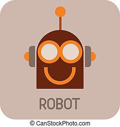 Robot Head - color vector icon. Smiling Robot.