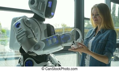 Funny robotic machine dancing with girl - Check this out....