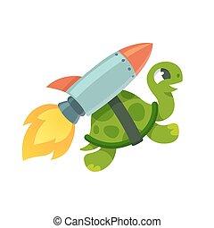 Funny rocket turtle illustration